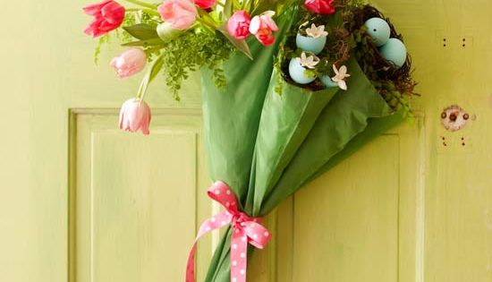 Cute spring door decoration! easter holiday springtime spring april umbrella flowers flower