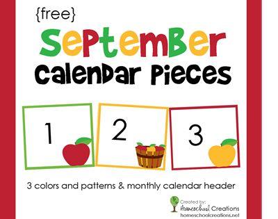 September Calendar Numbers - Free Printable | Calendar Numbers ...