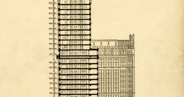 The Woolworth Building Cross Section With Floors Labeled