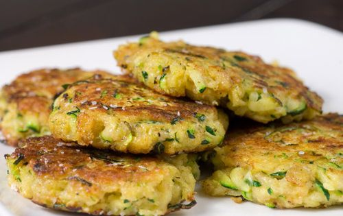 Zucchini Cakes Recipe: 1 large zucchinni grated, excess water removed • 1/2