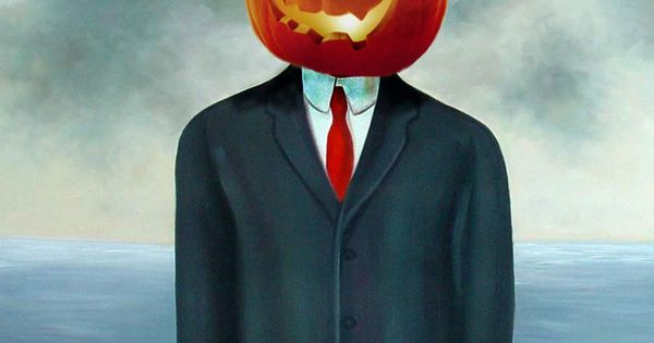 Pumpkin Head By Rene Magritte Art Parody Son Of Man