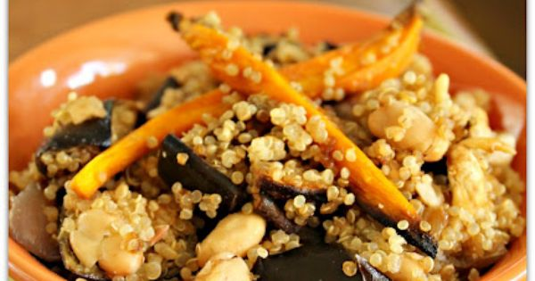 Plant-Based Nutritarian Weight Loss Recipe Blog: Quinoa with Roasted Beans, Garlic and