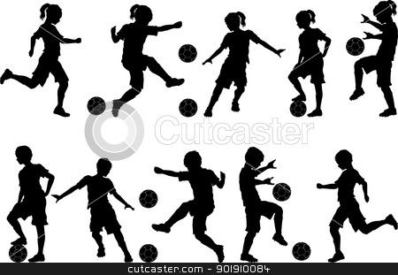 Soccer Silhouettes Kids Boys And Girls Soccer Silhouette Kids Silhouette Silhouette