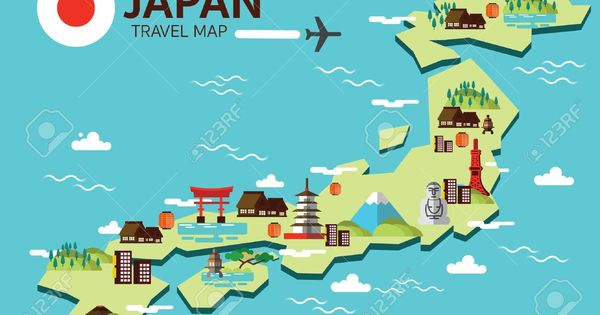 Japan Landmark And Travel Map Flat Design Elements And Icons Japan Map Travel Maps Illustrated Map