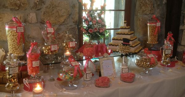 Coral Ivory And Gold Wedding Candy Bar From Sweet Treats