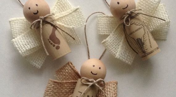 Wine Cork Angel Ornaments Set