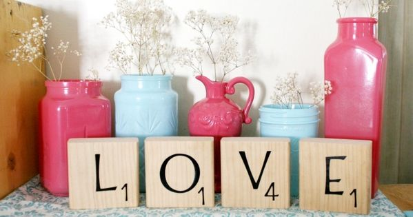 Valentine's Day idea - DIY scrabble block letters by Colour Her Hope