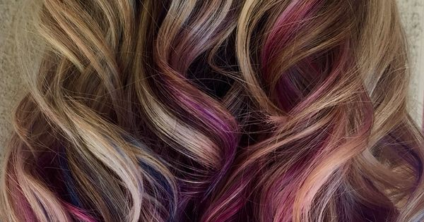 Pink And Purple Hair Styles: Blue, Pink, And Purple Peekaboo Highlights On Blonde Hair