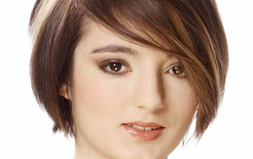 Short Straight Casual Bob Hairstyle With Side Swept Bangs