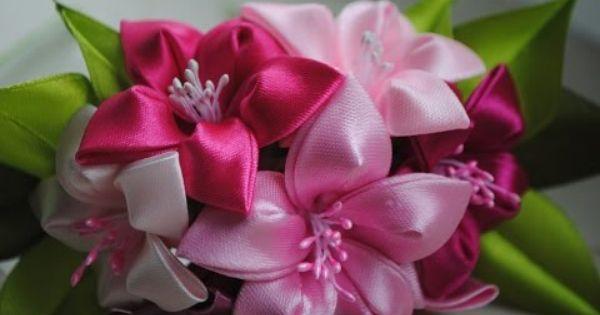 Красивые цветы из лент фото