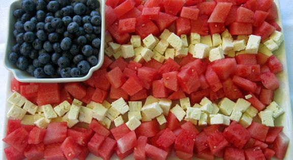 Just passing on some good ideas.... watermelon + blueberries + feta flag