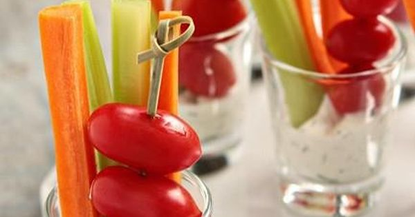 Party Idea ~ dip, carrot and celery sticks, and cherry tomatoes served