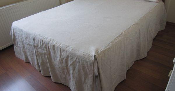 Split Corner Linen Bedspread Box Pleated Skirted Coverlet