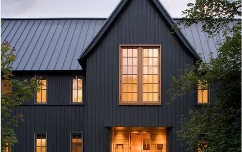 Dark grey vertical siding and steel roof make this modern for Vertical metal siding