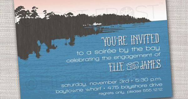 Printable Bay Side Lake Side Bayou Party Invitation - Rehearsal Dinner, Retirement Celebration ...