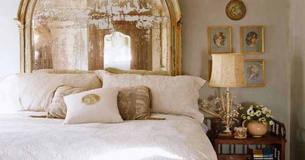 Gold antique mirror repurposed as a headboard. Gorgeous! design decor ideas bedroom