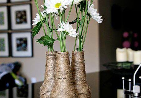 DIY home decor crafts :upcycled beer bottle flower vase