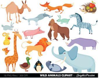 Safari Jungle Animals Clipart Cute Baby Zoo Animals Includes Giraffe Elephant Owl Zebra Rhino Free Commercial Use 10422 Baby Zoo Animals Cute Animal Clipart Animal Clipart