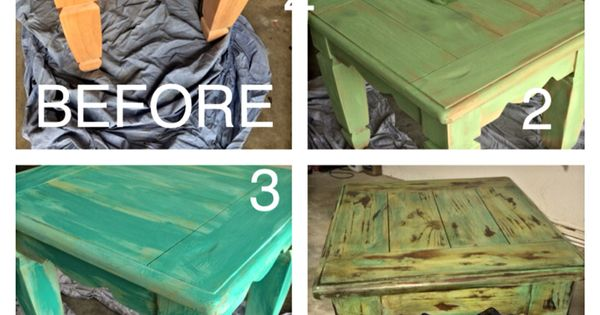 DIY distressed furniture : accent table : make wood look old : beach colors : easy DIY furniture ...