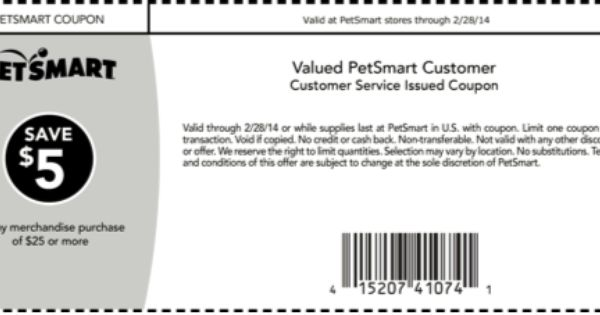 5 00 Off 25 00 At Petsmart Printable Coupons Coupon Apps Coupons