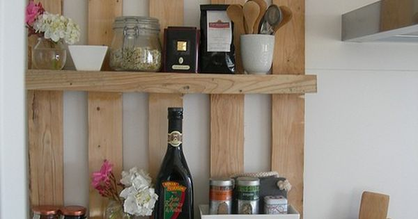 Wooden pallet kitchen shelves