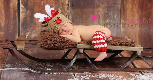 Christmas Hat & Leg Warmers ..... Rudolph the Red Nosed Reindeer Newborn