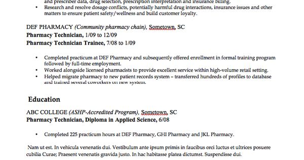 Pharmacy Technician Resume Example  HttpResumesdesignCom