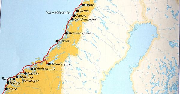 Map of the Norway Coast visited by Hurtigruten ships ...