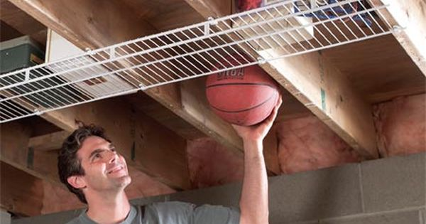 Garage Storage: Screw wire shelving to joists to create extra storage space