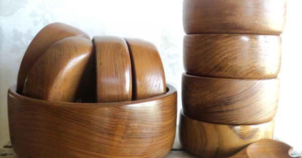 Wooden Bowl 11 Piece Set Teak Wood 8 Small Bowls 1 Large Bowl Fork And Spoon Thailand
