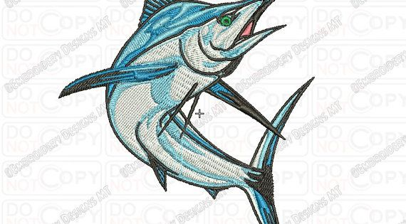 Marlin fish embroidery design in 3x3 4x4 by for 3x3 tattoo ideas