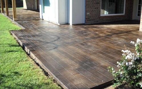 stamped concrete deck looks like wood