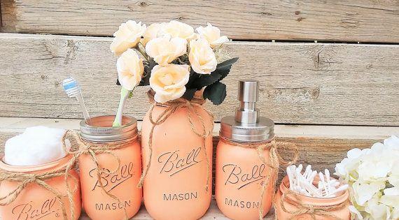 Mason jar bathroom decor peach bathroom set by for Peach bathroom accessories