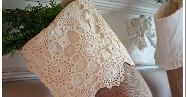 Idea for granddaughter's stocking - wide cuff of crochet doily