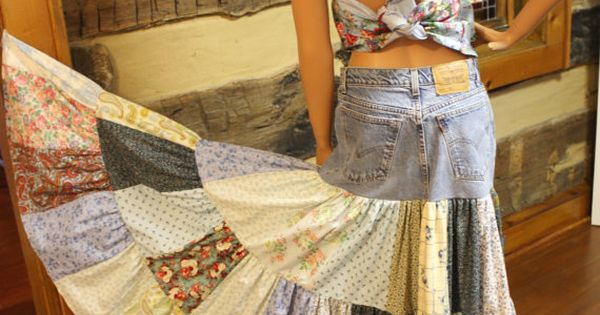Upcycled Denim Skirt Hippie Patchwork Skirt Long by Sweetbriers Jess & I