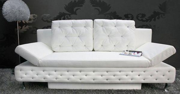 Canap lit capitonn lady strass blanc grey floor pinterest gray floor - Lit capitonne 180x200 ...