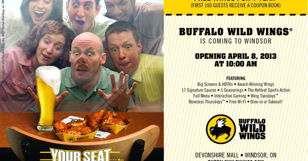 buffalo wild wings is opening devonshiremall on april 8th at 10am free wings for 1 year. Black Bedroom Furniture Sets. Home Design Ideas