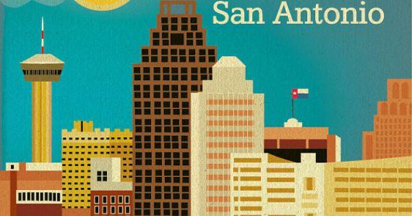 San Antonio Skyline Art Print Texas Wall Art San Antonio