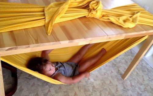 Under the table hammock - what a fun idea for kids