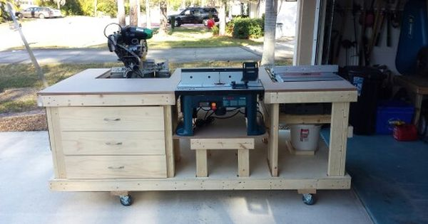 Workbench Including Table Saw Miter Saw Router 3 Drawers And Shelves Still Plan To Add Dust Co Woodworking Plans Workbench Woodworking Workbench Workbench