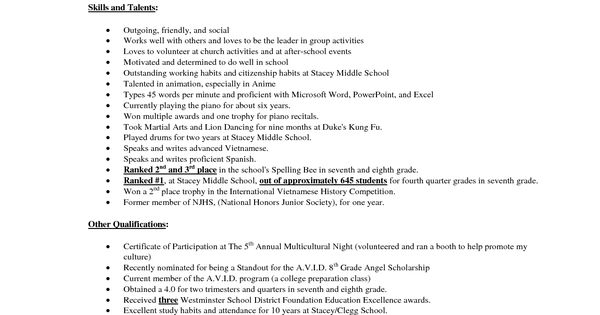 middle school student resume example stacey middle