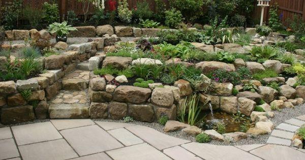 Einen steingarten gestalten in form von stufen und mit for Gartenidee steine