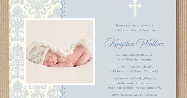 Baby Boy Baptism or Dedication Invitation I by RoxterDesigns