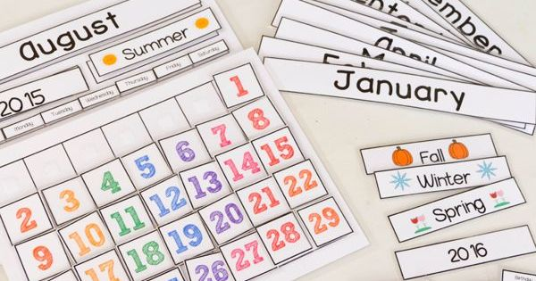 Free Calendar Time Printables : Cute free printable calendar for circle time with kids