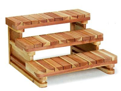 All Spa Steps Are Made From Natural Cedar And Are Supplied In An Easy To Assemble Kit Description From E Hot Tub Steps Hot Tub Accessories Hot Tub Steps Plans