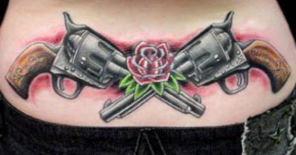 pistol crossed guns tattoos | best gun and rose tattoos ...
