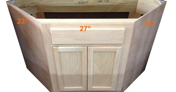 Diagonal Corner Sink Base Cabinet Unfinished Poplar Shaker Style 42 Corner Sink Corner Sink Kitchen Base Cabinets