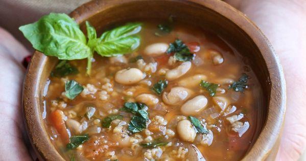 Hearty Italian White Bean Basil Soup | Opskrift | Sunde ...