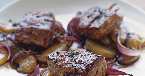 Glazed Pork Tenderloin with Pear and Thyme. food pork meat dinner