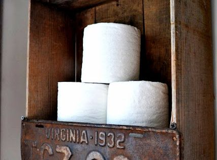 Turn a vintage license plate into a toilet paper holder/ rustic bathroom